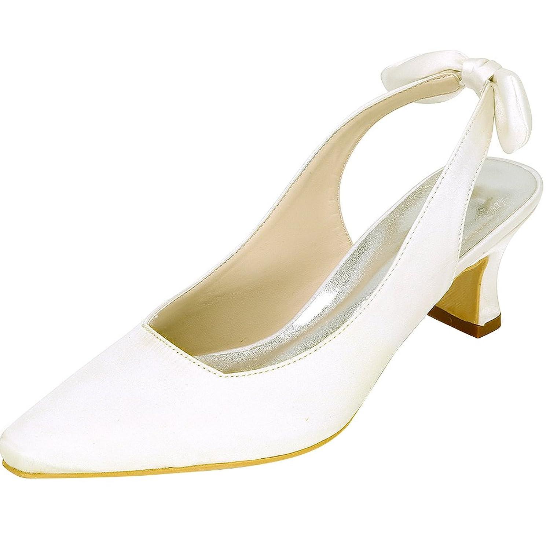 LOSLANDIFEN Womenu0027s Satin Closed Toe Mid Heel Wedding Bridal Shoes