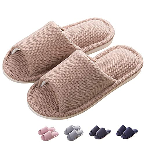 1a300b8e8d9af Share Maison Janpanese Style Unisex Men's Women's Memory Foam Open Toe Flax  Linen Indoor Slippers Non-Slip Winter Shoes