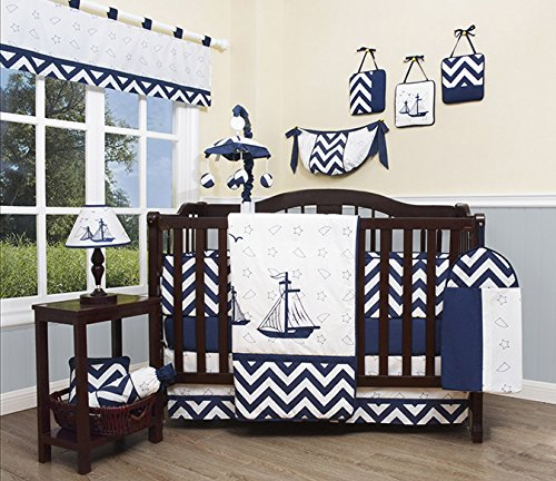 (GEENNY Baby Nautical Explorer 13 Piece Nursery Crib Bedding Set)
