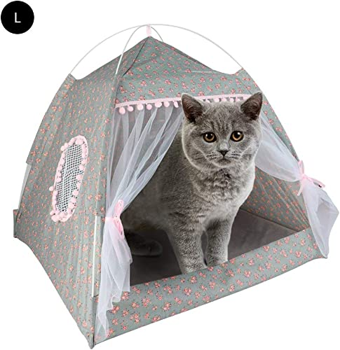 laamei Cat Bed House, Cat Tent Bed, 2-in 1 Self-Warming Comfortable Triangle Cat Igloo Bed Pet Tent House