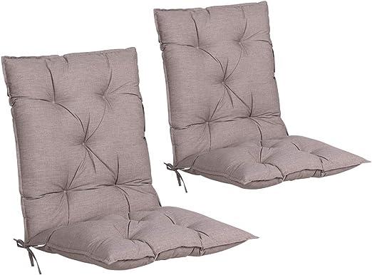 Detex Set de 2 Cojines de sillas con Respaldo Crema Almohadillas Rellenado para sillones para jardín Interior Exterior: Amazon.es: Jardín