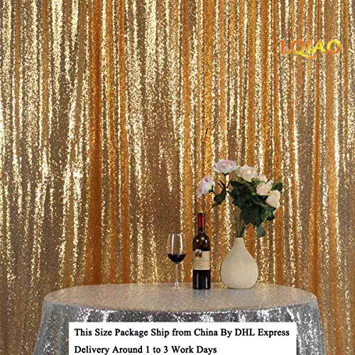 LQIAO Glitz 10x10ft Gold Shimmer Sequin Fabric Photography Backdrop, Gold Sequin Photo Booth Background Curtain Panel for Party Decoration, Pocket 10x10FT(300x310cm) (Wholesale Shimmer Rose)