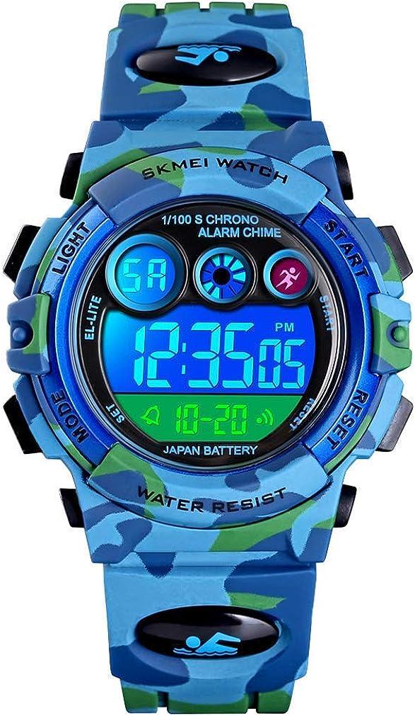 Reloj Deportivos para Niños Niño Niña Resistente al Agua Digital Analógico Militares Impermeabl Deportivos Especiales al Aire Libre LED Despertador Multifuncionales