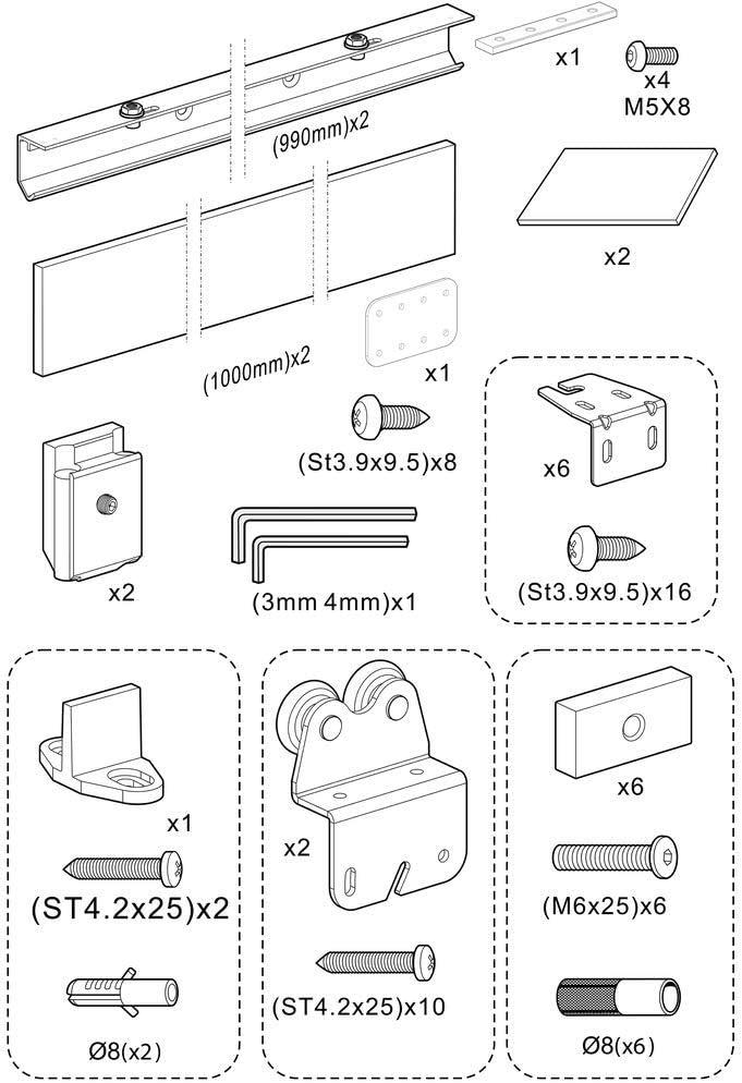 PrimeMatik Schiebet/ürbeschlag Set Schiebet/ürsystem Zubeh/örteil mit Asche Farbe MDF Holzabdeckung 2m