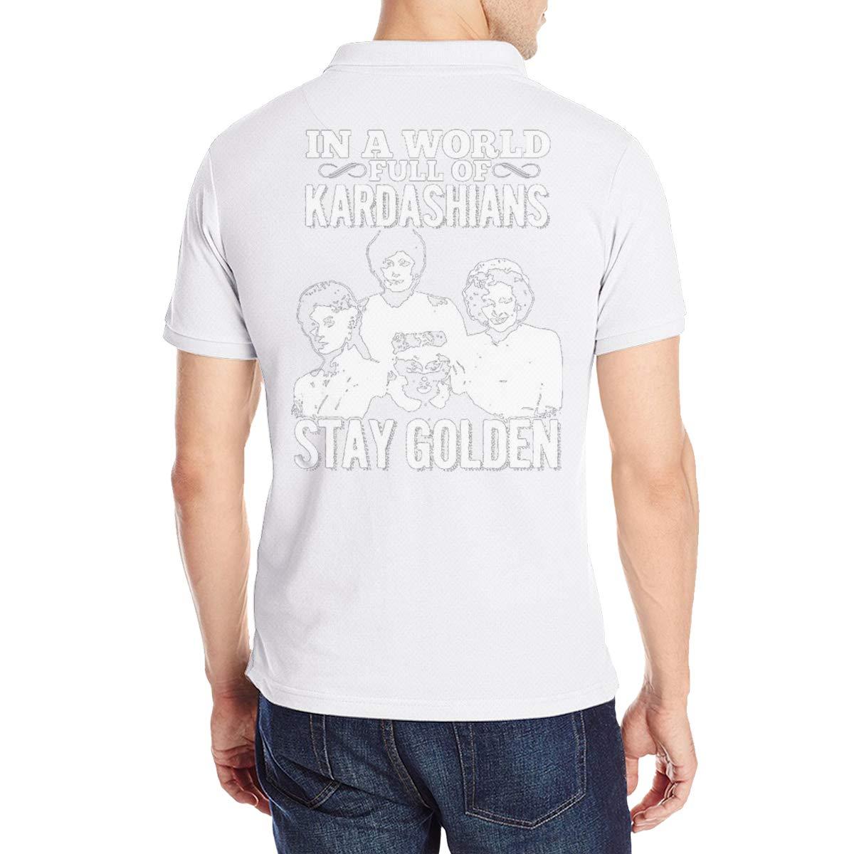 Arilce in?a?World?Full?Kardashians?Stay?Golden Men Polo Shirt Short Sleeve Lapel Blouse Black