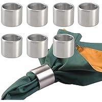 mDesign Juego de 8 Anillos servilleteros – Prácticos Aros para servilletas de Acero Inoxidable Cepillado – Elegantes…