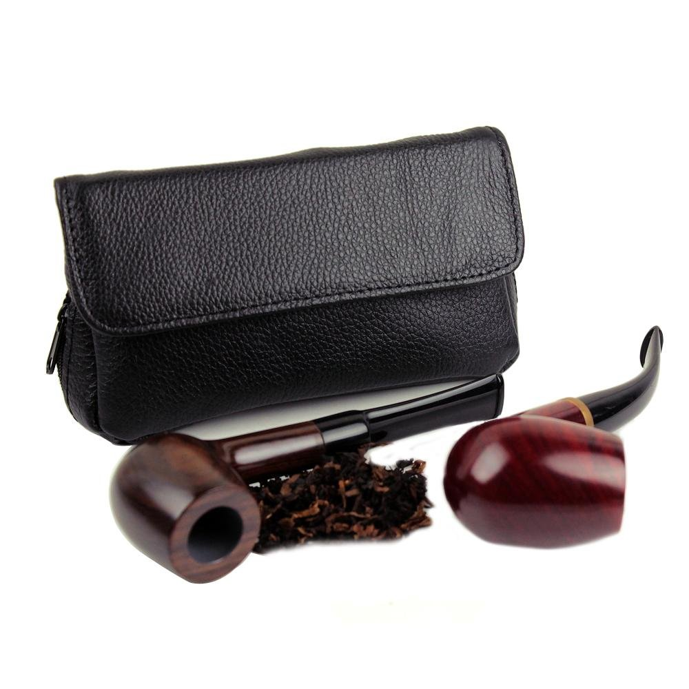 Health Secure Soft Genuine Leather Preserve Freshness pipe tobacco pouch case with 2 pipe holder pocket (Black)