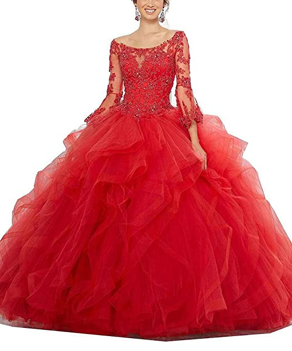 Ruisha Women Scoop Lace Long Sleeves Tulle Ball Gowns Sweet 16 Prom Quinceanera Dresses RS0030 at Amazon Womens Clothing store: