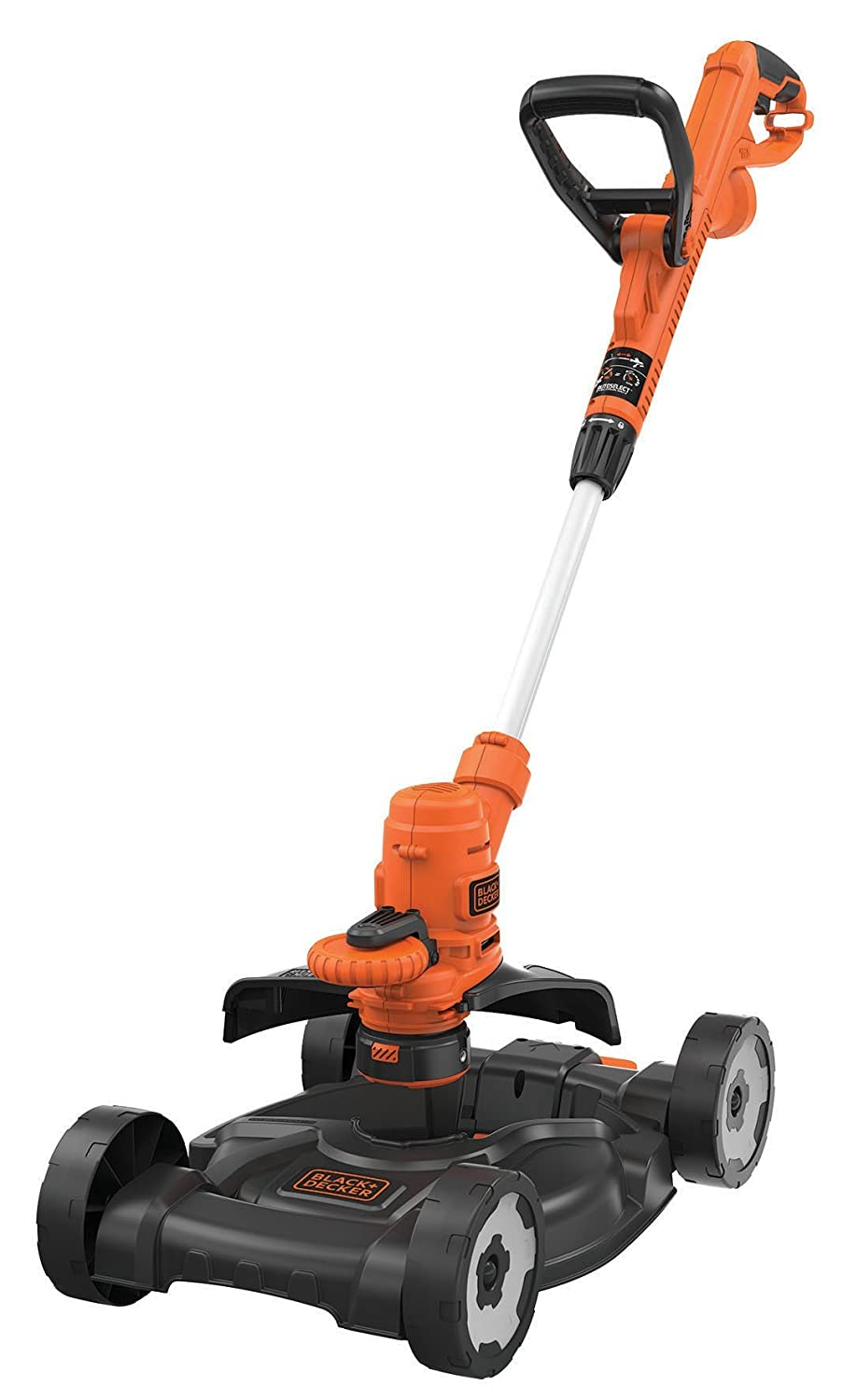 Black & Decker 3 In 1 Multi Trimmer, lawn trimmer, edge trimmer, edge cutter, lawn mower (E drive, 30 cm cutting width, automatic thread resetting, single thread, 9 m ᴓ 1.6 mm) – Black, Orange, ST5530 CM ST5530 CM Black+Decker ST5530CM-QS
