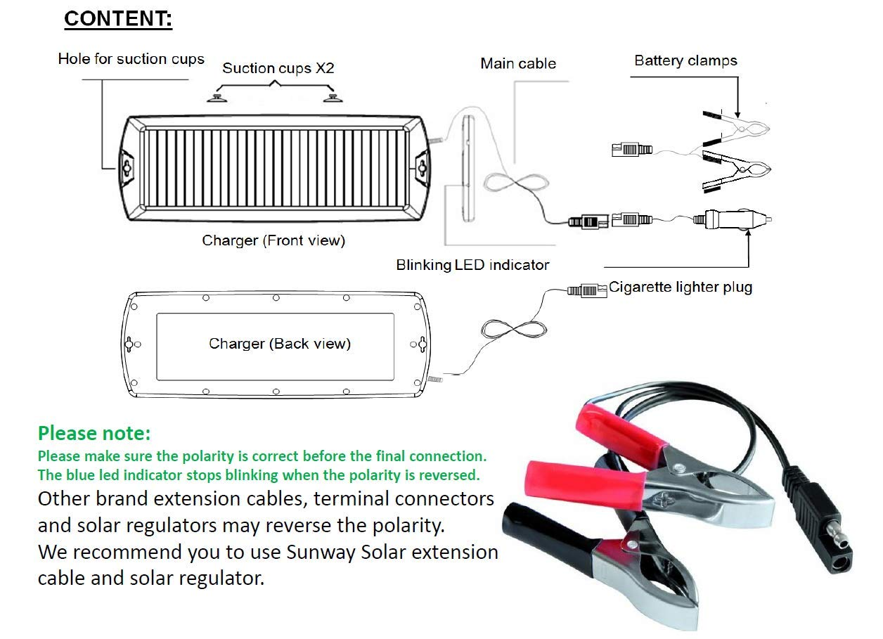 Sunway Solar Car Battery Charger 12v Trickle Cell Voltage Regulator Circuit Diagram Maintainer Panel Power Portable Backup