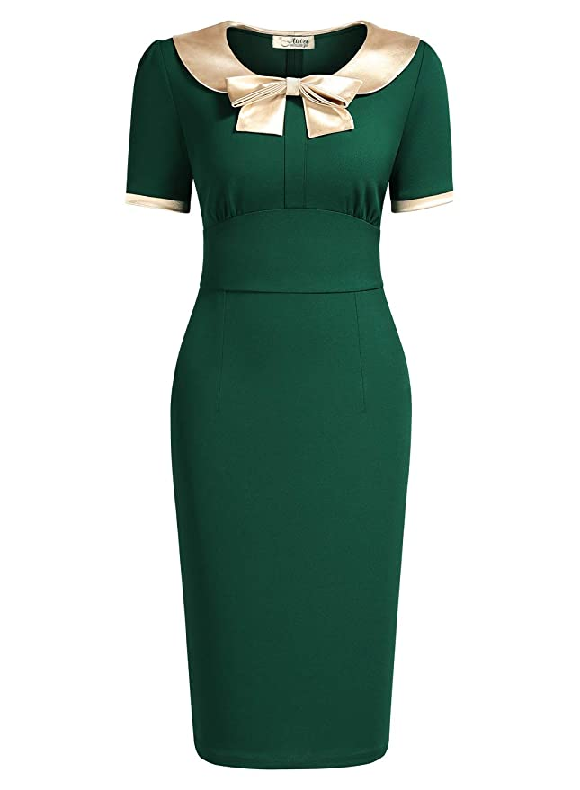 500 Vintage Style Dresses for Sale | Vintage Inspired Dresses AISIZE Women 1940s Vintage Golden Bow Wiggle Dress $34.99 AT vintagedancer.com