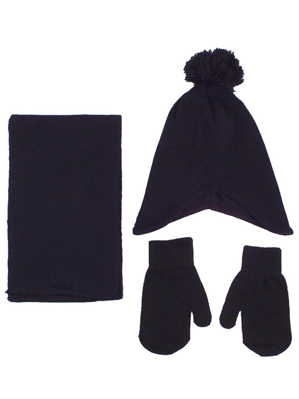 fa2d55b95 Unisex Kids Toddler 3pcs Winter Warm Knitted Fleece Pom Beanie Scarf Mitten  Set