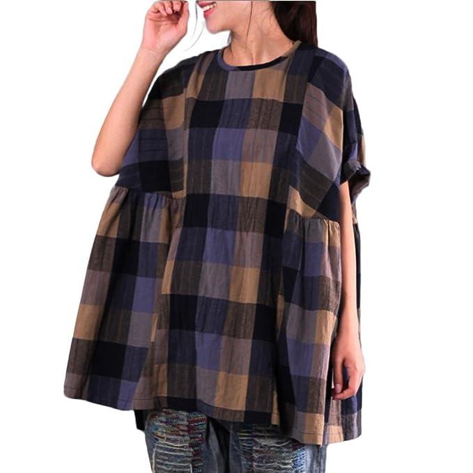 Yvelands Moda Femenina Elegante Hermosa Lino de algodón Vintage Camisa Suelta Suelto murciélago ala Camisa a
