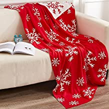 """NTBAY 100% Cotton Cable Knit Throw Blanket Super Soft Warm with Snowflakes Pattern Design( 51""""x 67"""", Red and White)"""