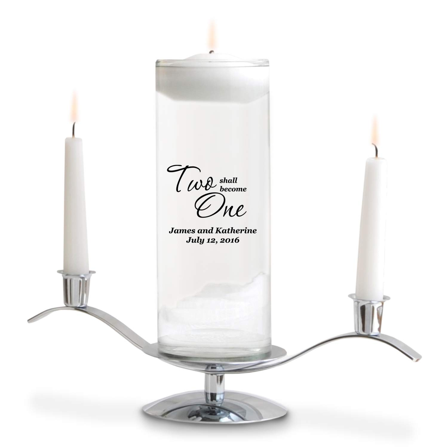 Personalized Floating Wedding Unity Candle - Personalized Wedding Candle - Includes Stand - Two Shall Become One