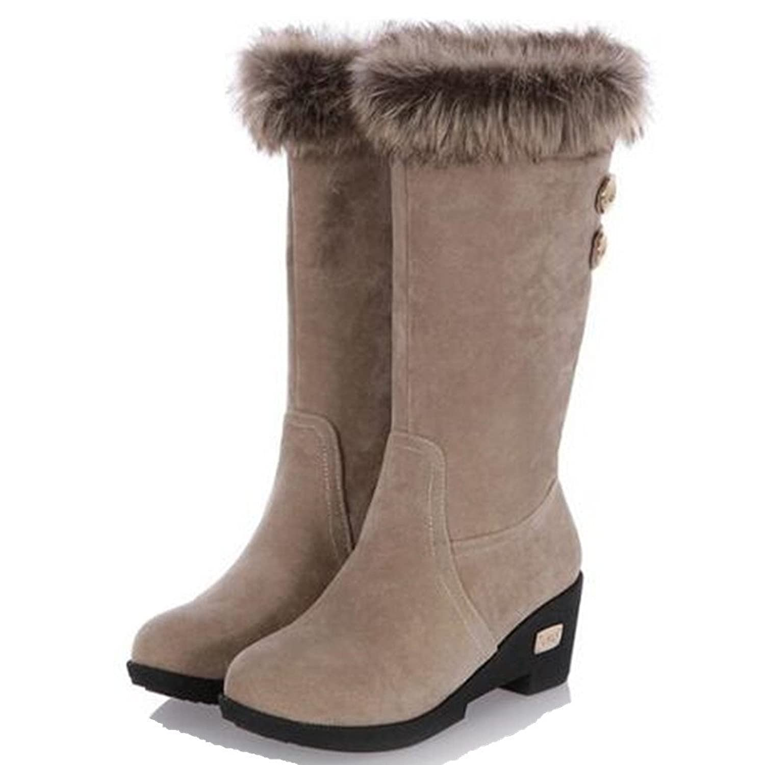 Women's Winter Warm Fashion Nubuck Thick Rabbit Hair Platform Mid Chunky Heel Cold Weather Snow Boots