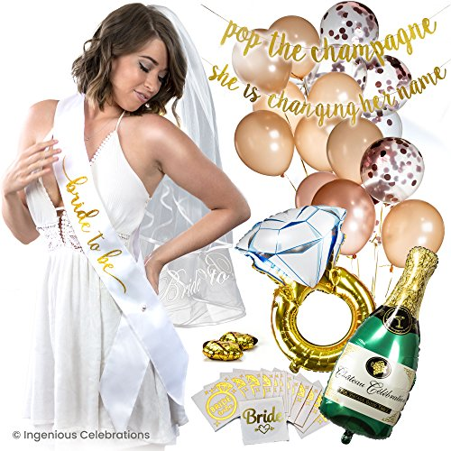 Big Bachelorette Party Decorations KIT. Perfect for Bridal Shower. Lots of Rose Gold Balloons, Impressive Bride to Be Glitter Banners, Sash, Tattoos, Veil, Giant Foil Balloons