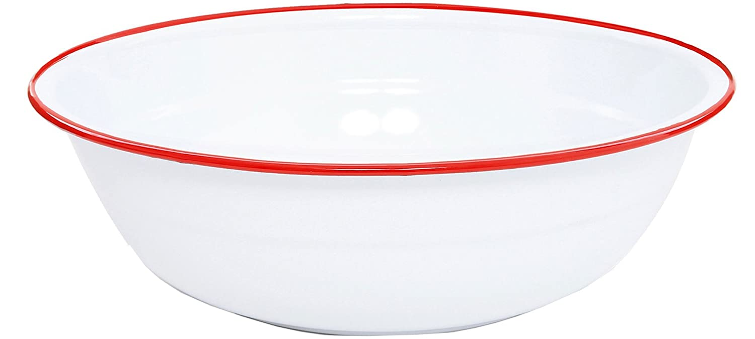Crow Canyon Enamelware Timpano Basin Solid White with Black Rim CGS International V25BLA