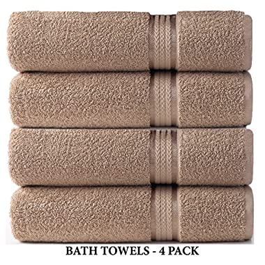 Cotton Craft Ultra Soft 4 Pack Oversized Extra Large Bath Towels 30x54 Linen weighs 22 Ounces - 100% Pure Ringspun Cotton - Luxurious Rayon trim - Ideal for everyday use - Easy care machine wash