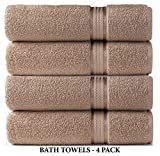 Cotton Craft - 4 Pack - Ultra Soft Oversized Extra Large Bath Towels 30x54 Linen - 100% Pure Ringspun Cotton - Luxurious Rayon trim - Ideal for Daily Use - Each Towel Weighs 22 Ounces