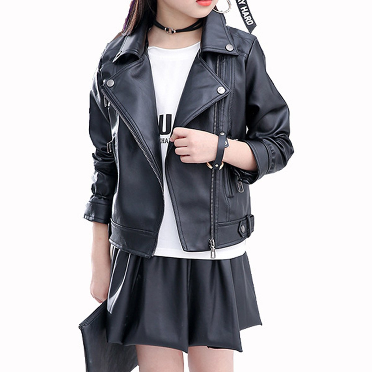Elife Girls Fashion PU Leather Motorcycle Jacket Children's Outerwear Slim Coat Black 8-9Y … by Elife