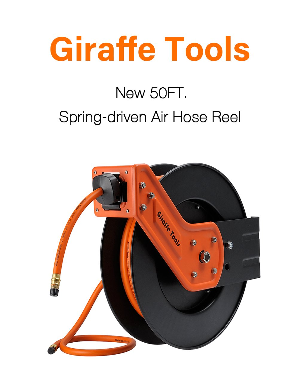 Giraffe Auto Retractable Air /Water Hose Reelwith Free 3/8 In. x 50 Ft, 1/4 In. MNPT Hybrid Air Hose.Mountable, Swivel Bracket, 300 PSI and Heavy Duty