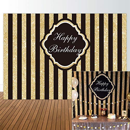 Allenjoy 7x5ft Black and Gold Glitter Stripe Backdrop for Adults Children Happy 1st First Birthday Sweet 16 Party Wall Decor Decorations Photography Pictures Photo Studio Booth Shoot -