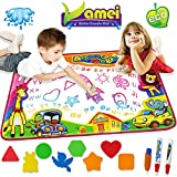 VAMEI Water Doodle Mats 86 X 57cm Magic Multicolour Water Aqua Drawing Mat Pad Set with 3 Water Pens and 8 Molds for Boys Girls Random Color