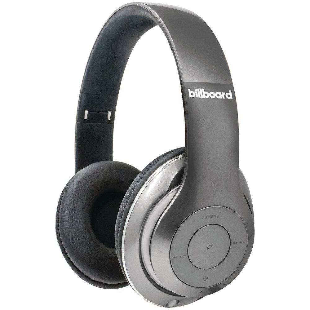 Billbord Rechargeable Bluetooth Wireless Over-Ear Folderable Headphones with Enhanced Bass, Controls, Microphone - Silver