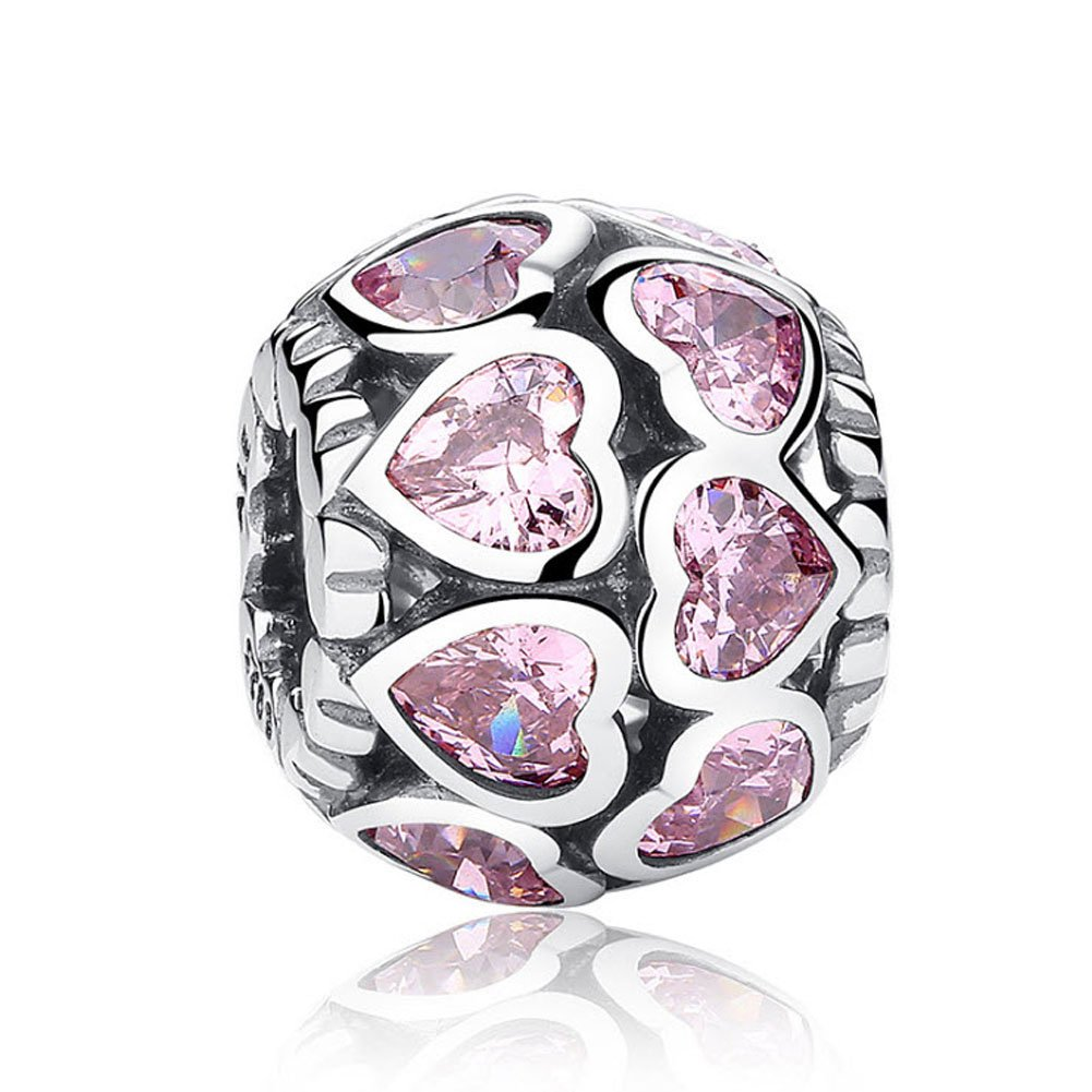 Romántico Amor Heart Full of Love Openwork Charms Purple CZ Spacer Silver Bead fit Pandora Bracelets