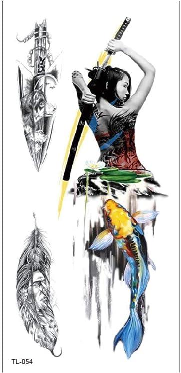 Brazo Tatuaje Temporal Pegatinas Espada Niña Plumas De Colores ...