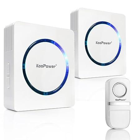 Keine Batterie Benötigt Funk Türklingel, KooPower 150M Reichweite,25 Klingeltöne,2 Plug-in Empfänger 1 Klingelknopf Sender Wa