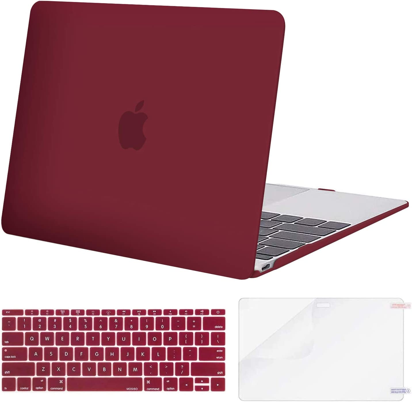 MOSISO Plastic Hard Shell Case & Keyboard Cover Skin & Screen Protector Compatible with MacBook 12 inch with Retina Display (Model A1534, Release 2017 2016 2015), Wine Red