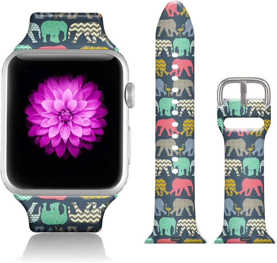 FTFCASE Sport Bands Compatible with iWatch 42mm/44mm Aztec Tribal Elephant, Flower Printed Soft Silicone Strap Replacement for iWatch 42mm/44mm Series 4/3/2/1 Women Men