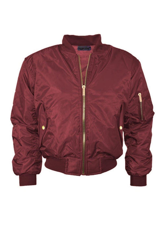 Girls Boys Kids Plain MA1 US Air Pilot Zip Up Biker Bomber Padded Jacket Coat