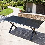GDF Studio Eowyn Black Cast Aluminum Expandable Outdoor Dining Table