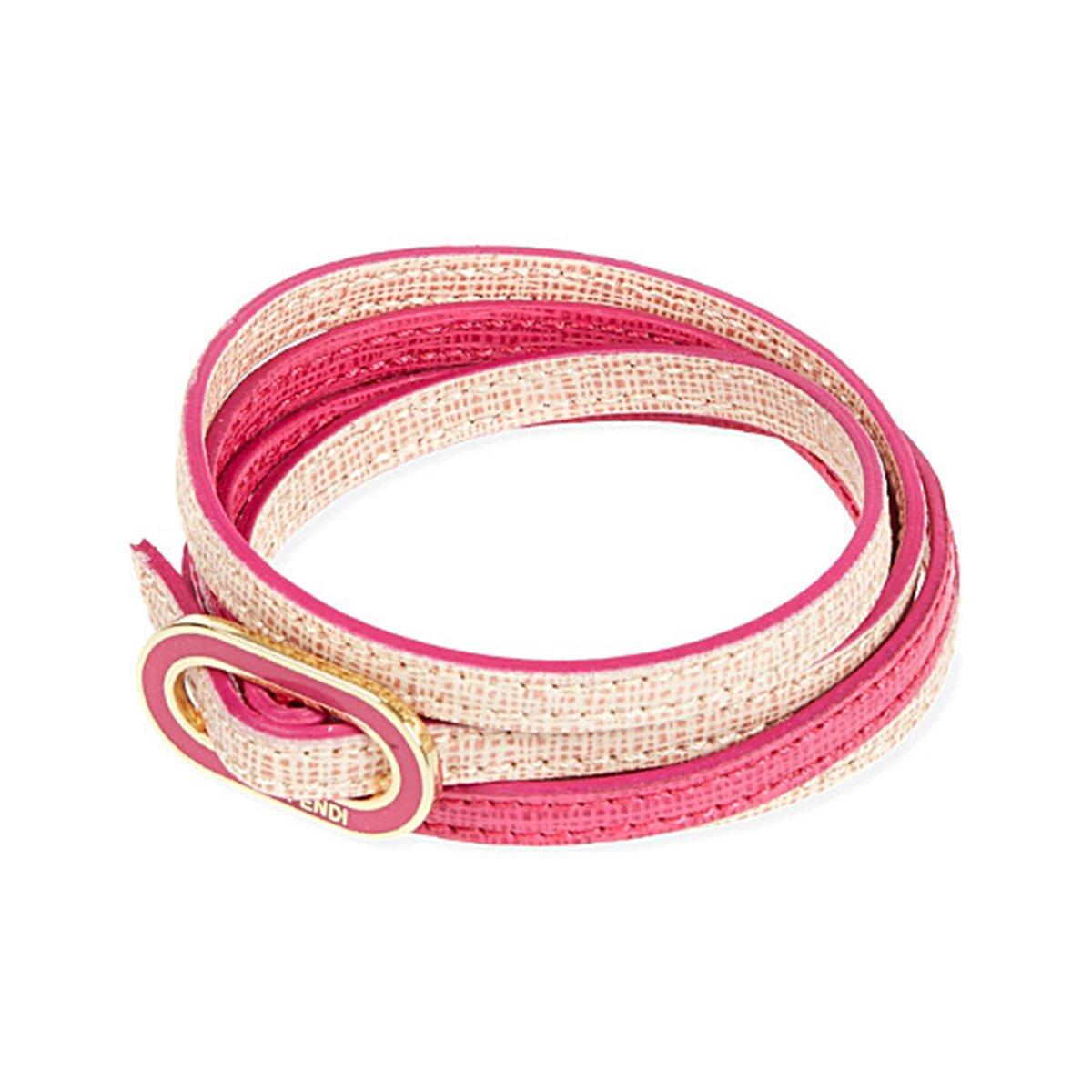 Fendi ''Crayons'' Leather Bangle Bracelet Pink Leather 8AG313