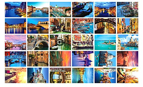New Collectible Edition!European travel and Water city theme postcards. 30 Various Venice Postcards 4x6 Inch. (Venice) by Light up in the Dark