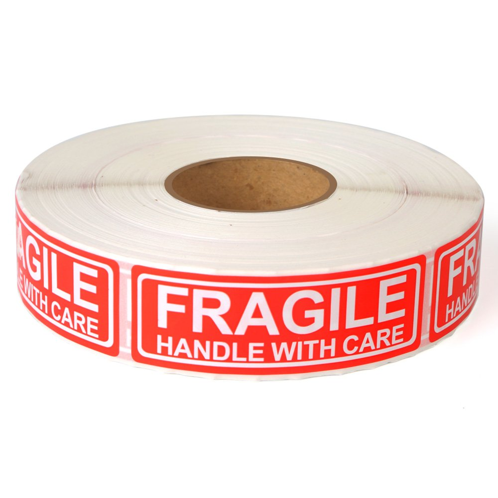 1000 Labels Per Roll Fragile 1x3 Handle with Care Shipping Stickers