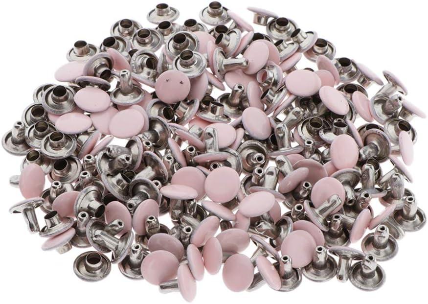 Hohlnieten DIY Dekoration Rosa Ziernieten Rundnieten Silber 8mm chiwanji 100Stk Strasssteine Schmucknieten