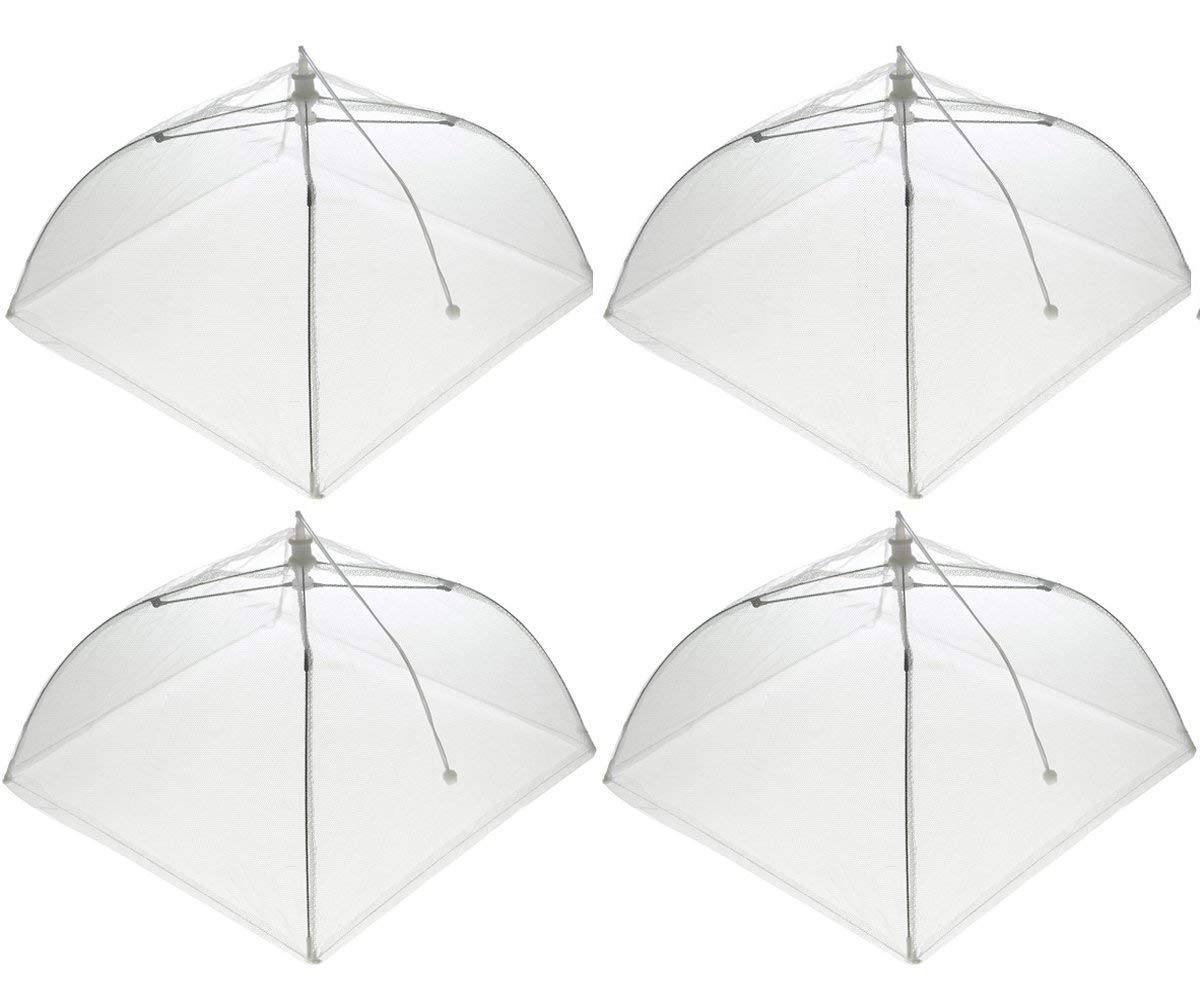 Wisdom Pop-Up Mesh Food Covers Tent Umbrella 4 Pack Large 17 inch Reusable and