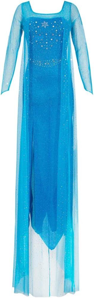 Katara 1768 Vestido de Princesa Elsa Reina de Hielo - Vestido Elegante, disfraz de carnaval, Mujeres, Azul, M