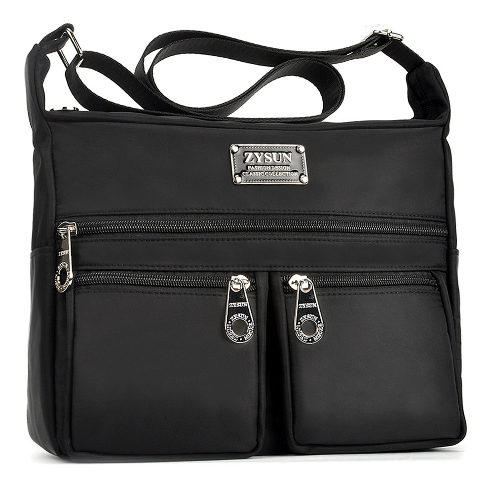 Crossbody Bags for Women,Water Resistant Lightweight Nylon with 6 Pockets Bag by ZYSUN (Black)