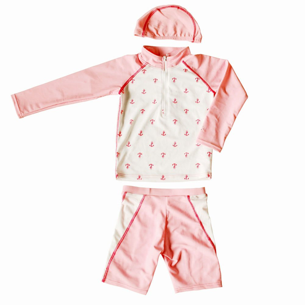 Pink&White Girls Swimsuit Long Sleeve Two Piece Beach Wear, 8T,5-6 Years Old PANDA SUPERSTORE PS-SPO2420250011-EMILY00885