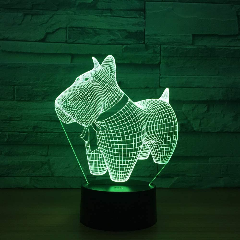 BFMBCHDJ Lovely Dog Model Illusion 3d Lamp LED 7 Color Changing ...