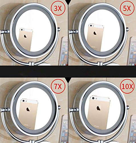 6/8-inch Bathroom Mirror Double Sided Makeup Mirror 3X, 5X,7X,10X/1X Magnification Wall Mounted Vanity Magnifying Mirror Swivel, Extendable For Bath, Spa And Hotel ( Design : 5x , Size : 6-inch ) by GAOLIQIN (Image #5)