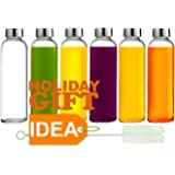Brieftons Glass Water Bottles: 6 Pack, Large 530ml, Stainless Steel Leak-Proof Lid/Cap, Premium Soda Lime, BPA Free, Best Reusable Bottle for Drinking, Water, Juice, Beverage, Sports and Home Use
