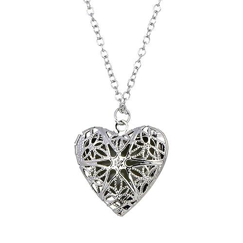 Jiayiqi Frauen Gravieren Blume Metall Anhänger Liebe Herz Halskette ...