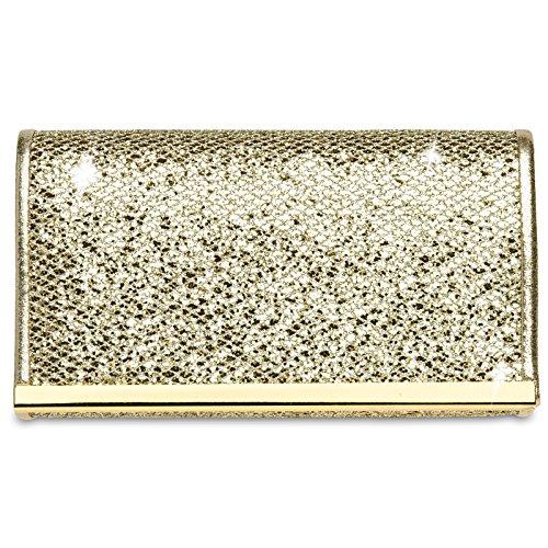 CASPAR TA344 Bolso de Mano Fiesta Elegante para Mujer / Clutch Brillo con Detalle Metálico Oro