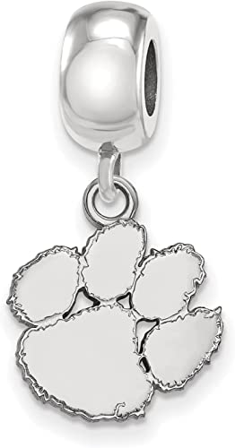 925 Sterling Silver Rhodium-plated Laser-cut Clemson University Small Circle Pendant